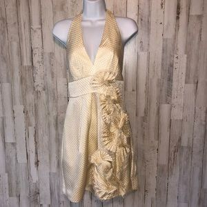 BCBGMaxAzria Golden Floral Applique Halter Dress